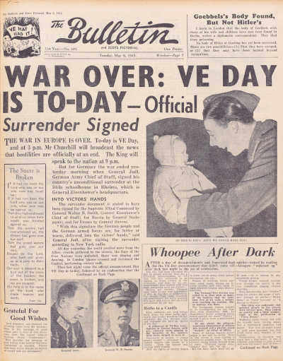 War over: VE DAy is today - front cover of The Bulletin