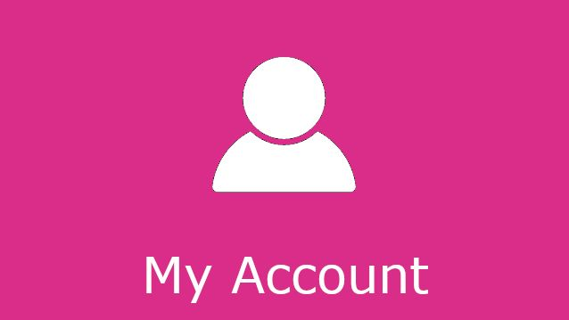 Pink coloured panel with the words'My account'.