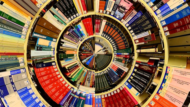 Spiral display of non fiction books