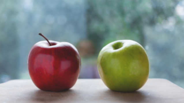 Image of two apples - one red and one green.