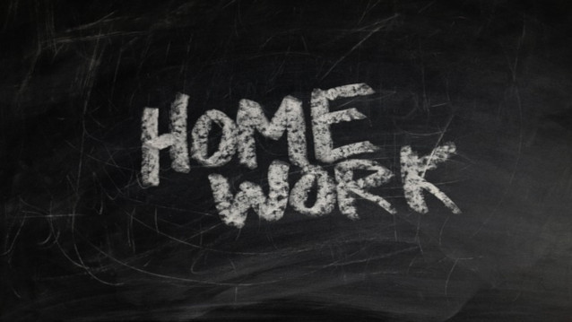 Homework Help chalked on a blackboard