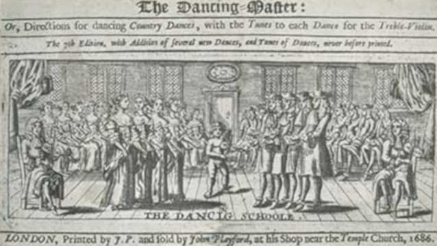 The English Dancing Master (London: 1686) by John Playford, title page. This was an English country dancing manual and major source book of British folk dance, published in several editions (1651-circa 1728) by Playford and his successors.
