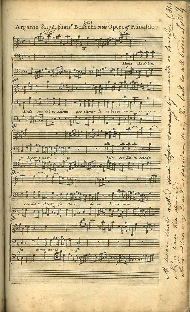 Score of 'Argante Sung by Signor Borcchi in the Opera of Rinaldo', featuring handwritten lyrical marginalia on the right-hand side.