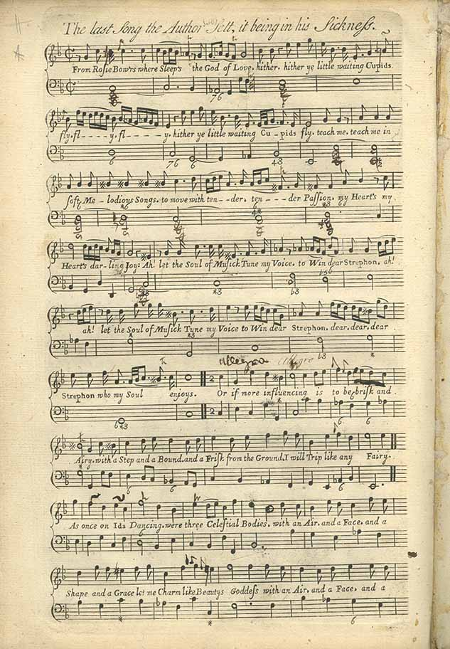 Score of 'The last Song the Author Selt, it being in his Sickness' from Orpheus Britannicus by Henry Purcell, page 38.
