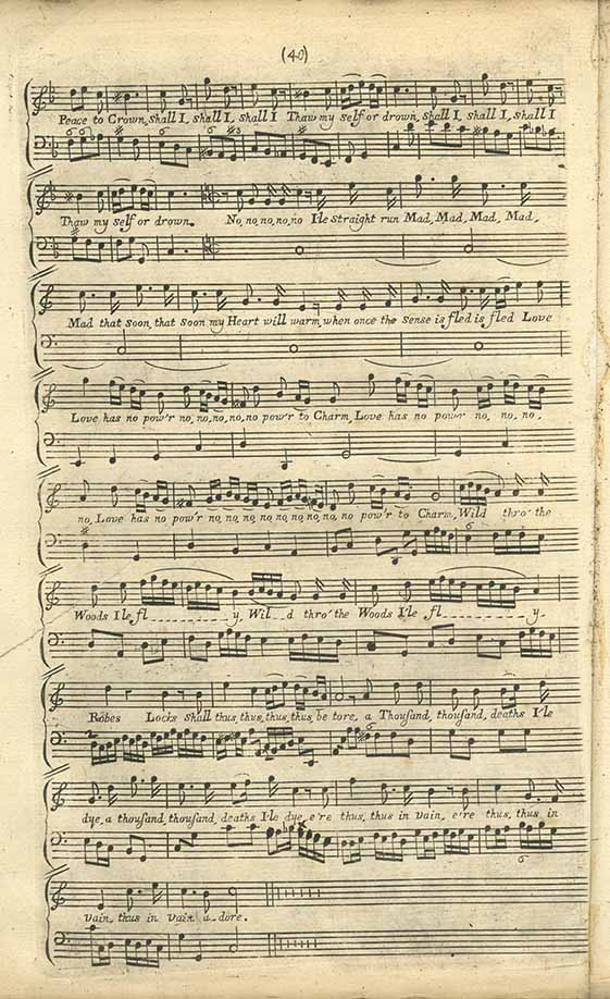 Score of 'The last Song the Author Selt, it being in his Sickness' from Orpheus Britannicus by Henry Purcell, page 40.