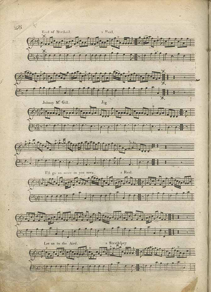 Scores of 'Earl of Marshall', 'Johnny McGill', 'I'll go no more to yon town', 'Let us to the Aird' from Niel Gow and Sons' A Complete Repository of Original Scots Slow Strathspeys and Dances (Edinburgh: circa 1797), page 28.