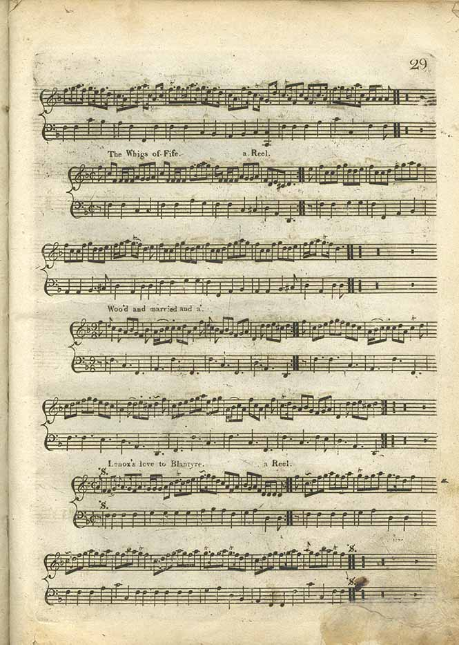 Scores of 'The Whigs of Fife', 'Woo'd and married and a'' and 'Lenox's love to Blantyre' from Niel Gow and Sons' A Complete Repository of Original Scots Slow Strathspeys and Dances (Edinburgh: circa 1797), page 29.