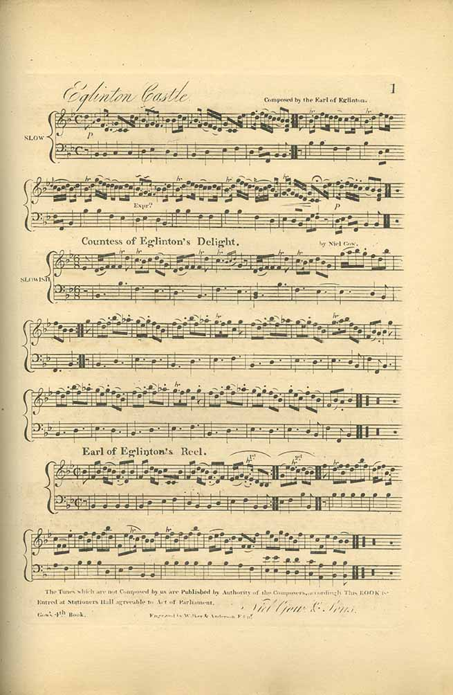 Score of 'Eglinton Castle', 'Countess of Eglinton's Delight' and 'Earl of Eglinton's Reel' from A Collection of Strathspey Reels in Five Volumes by Niel Gow.