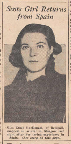 Newspaper Image of Ethel MacDonald on her return from Spain