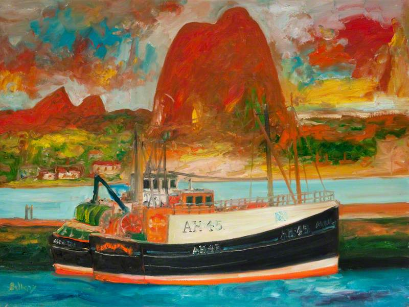 Fishing Trawler by John Bellany (1942–2013), located in Mitchell Library